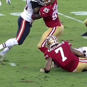 San Francisco 49ers quarterback Colin Kaepernick's fumble recovered by Chicago Bears safety Danny McCray