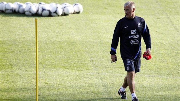 France coach Didier Deschamps conducts a training session at Clairefontaine, near Paris (Reuters)