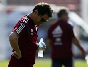 Russia's national soccer team coach Capello takes part in the training session at the municipal stadium in the town of Itu north-west of Sao Paulo
