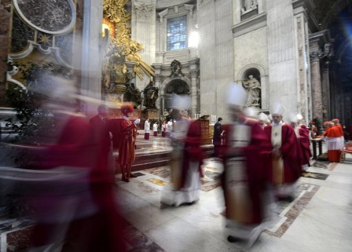 Cardinals leave after celebrating a mass at St Peter's Basilica in the Vatican. Six non-European prelates are set to join the Catholic Church's College of Cardinals on Saturday, a move welcomed by critics concerned that the body which will elect the future pope is too Eurocentric.