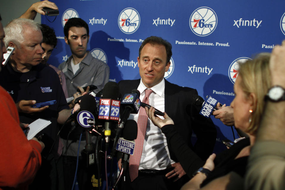Philadelphia 76ers owner Josh Harris responds to questions during a news conference where it was announced Doug Collins is resigning from his position as the team's head coach, Thursday, April 18, 2013 in Philadelphia. (AP Photo/Joseph Kaczmarek)