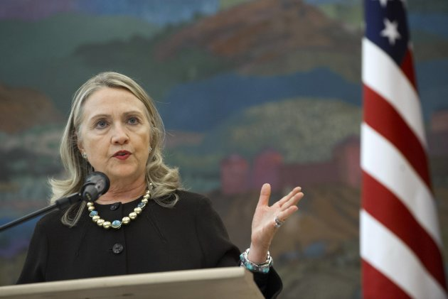 U.S. Secretary of State Hillary Clinton speaks during a news conference with the Croatian president after their meetings at the presidency in Zagreb October 31, 2012. NATO member Croatia will join the 27-nation EU next year. REUTERS/Saul Loeb/Pool (CROATIA - Tags: POLITICS)