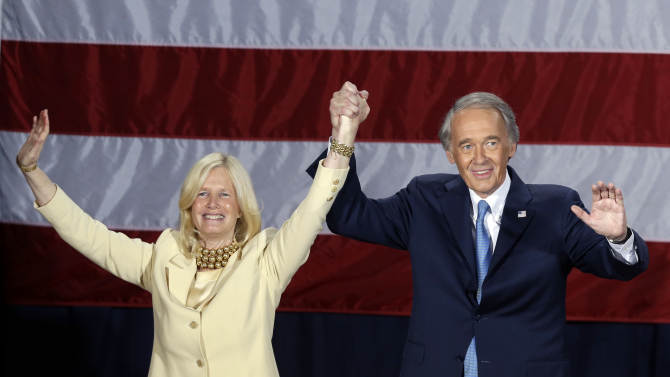 Democratic U.S. Rep. Edward Markey, with wife Dr. Susan Blumenthal, celebrates his victory in the Massachusetts special election for the U.S. Senate at his campaign party Tuesday, June 25, 2013, in Boston. Markey defeated Republican candidate Gabriel Gomez for the Senate seat vacated by John Kerry. (AP Photo/Elise Amendola)