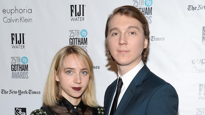 Zoe Kazan, left, and Paul Dano attend The Independent Filmmaker Project's 25th annual Gotham Independent Film Awards at Cipriani Wall Street on Monday, Nov. 30, 2015, in New York. (Photo by Evan Agostini/Invision/AP)