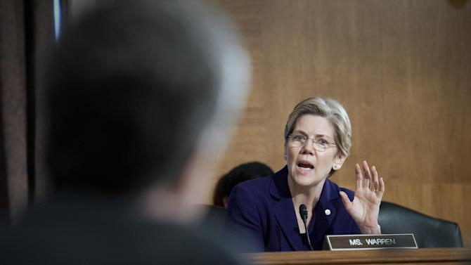 Sen. Elizabeth Warren, D-Mass., questions a witness at Senate Banking Committee hearing on anti-money laundering on Capitol Hill in Washington, Thursday, March 7, 2013. Warren rose to national prominence as an outspoken consumer advocate decrying Wall Street abuses and became the progressive movement's darling candidate in last fall's Senate elections. Like most freshman lawmakers, the Massachusetts Democrat has maintained a low profile during her first few months in office, but that's starting to change. (AP Photo/Cliff Owen)