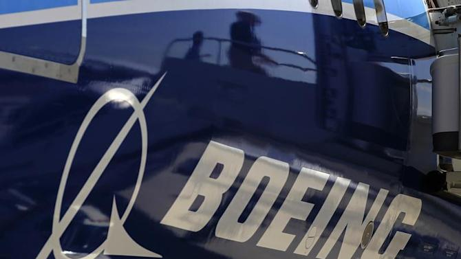 The Boeing logo is seen on a Boeing 787 Dreamliner airplane in Long Beach