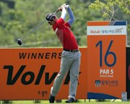 South Korea's Ma Soo-kil hits a shot during the first round of the Volvik Hildesheim Open golf tournament at the Hildesheim Country Club in Jecheon. Ma and compatriot Lee Sang-Hee put the hosts on top as they shared the first round lead at the inaugural Volvik Hildesheim Open J Golf Series