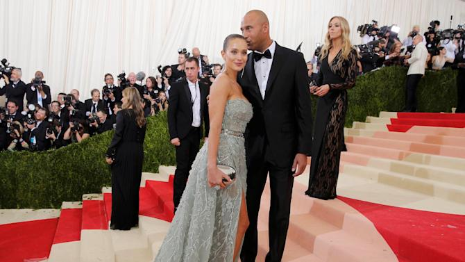 Retired MLB Baseball player Derek Jeter and Hannah Davis at the Met Gala in New York