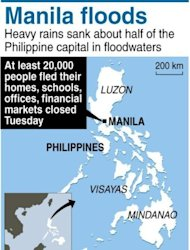 Map of the Philippines locating Manila, where torrential rains forced at least 20,000 people to flee their homes as floodwaters covered half the capital