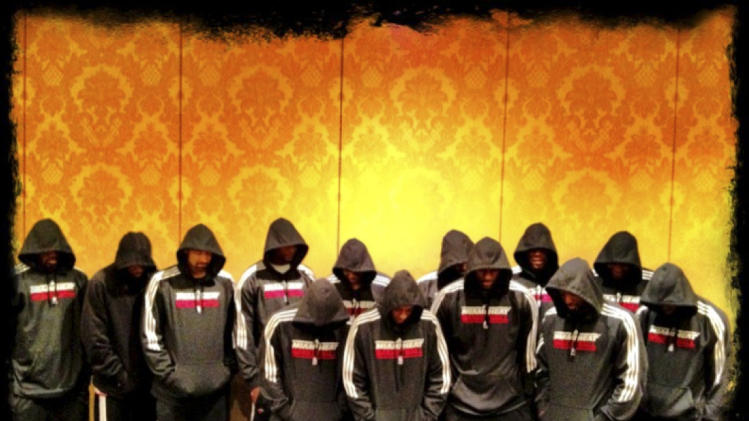 In this image posted to Miami Heat basketball player LeBron James' Twitter page, Miami Heat players wear team hoodies. Heat stars Dwyane Wade and James decided, Thursday, March 22, 2012, to make their reactions about the Trayvon Martin situation public, and James felt the best way to do that was the team photo with everyone wearing hoodies. Martin, an unarmed black teenager wearing a hooded sweat shirt, was shot to death on Feb. 26, 2012, in Sanford, Fla. by a neighborhood crime-watch volunteer. (AP Photo/LeBron James via Twitter)