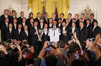President Obama teases David Beckham during the LA Galaxy's visit to the White House