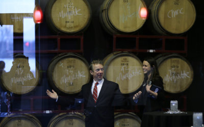 U.S. Sen. Rand Paul, R-Ky., greets supporters before speaking at a rally hosted by Liberty Iowa, Friday, Feb. 6, 2015, at the Jasper Winery in Des Moi...