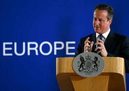 British Prime Minister David Cameron speaks during a news conference after the European Union leaders summit in Brussels