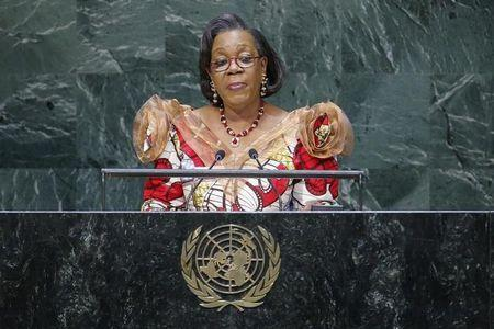 Central African Republic's interim President Samba-Panza addresses the 69th United Nations General Assembly at the U.N. headquarters in New York