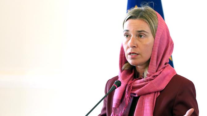 European Union foreign policy chief Mogherini attends a joint news conference with Iran's Foreign Minister Zarif in Tehran