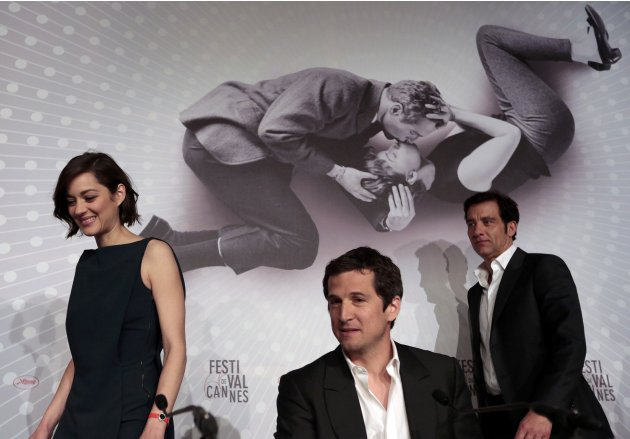 "Director Guillaume Canet and cast members arrive to attend a news conference for the film ""Blood Ties"" at the 66th Cannes Film Festival"
