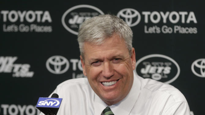 New York Jets NFL team head coach Rex Ryan participates in a news conference Tuesday, Jan. 8, 2013 in Florham Park, N.J.  (AP Photo/Seth Wenig)