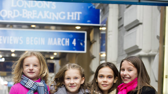 """Actresses from left, Milly Shapiro, Sophia Gennusa, Oona Laurence and Bailey Ryon, who will share the title role in """"Matilda the Musical"""" on Broadway, pose for a portrait outside the Shubert Theatre, on Thursday, Nov. 15, 2012 in New York. (Photo by Charles Sykes/Invision/AP)"""