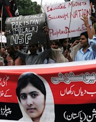 Pakistani youths protest against the assassination attempt by the Taliban on child activist Malala Yousafzai in Lahore. The cold-blooded murder attempt has sickened Pakistan, where Malala came to prominence with a blog for the BBC highlighting atrocities under the hardline Islamist Taliban, who terrorised the Swat valley from 2007 until an army offensive in 2009