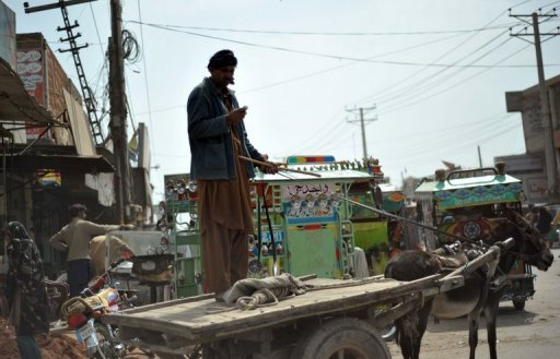 <p>A donkey-cart driver uses his mobile phone in downtown Multan, Punjab province, in March 2012. Pakistan shut down mobile phone networks overnight in major cities to prevent Taliban and Al-Qaeda attacks as celebrations began for the biggest Muslim festival of the year.</p>