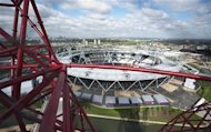 The London 2012 Olympic Stadium is seen from the top of the ArcelorMittal Orbit in the London 2012 Olympic Park in east London