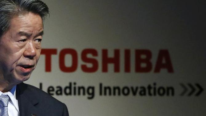 Toshiba Corp President and CEO Tanaka speaks during the company's corporate strategy meeting in Tokyo
