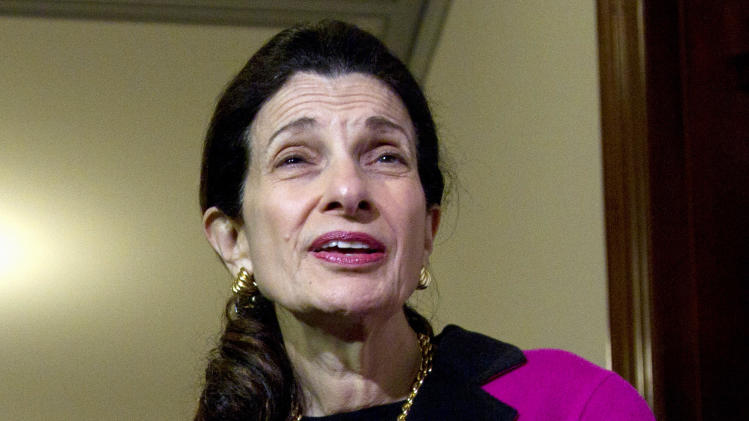 FILE - In this Feb. 28, 2012 file photo, Sen. Olympia Snowe, R-Maine speaks outside her office on Capitol Hill in Washington. (AP Photo/Carolyn Kaster, File)