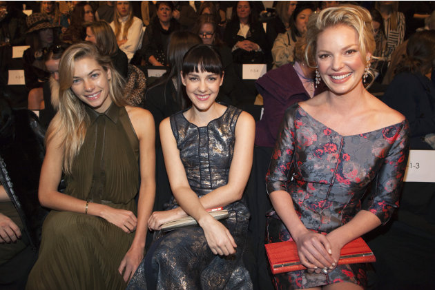 Model Jessica Hart, Actress Jenna Malone and Katherine Heigl sit in the front row at the J. Mendel Autumn/Winter 2013 collection during New York Fashion Week