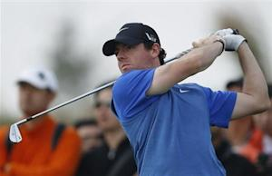 Rory McIlroy of Northern Ireland tees off on the second hole during the BMW Masters 2013 golf tournament at Lake Malaren Golf Club in Shanghai