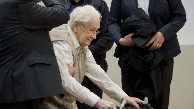 Former bookkeeper at Auschwitz Groening arrives for start of his trial in Lueneburg