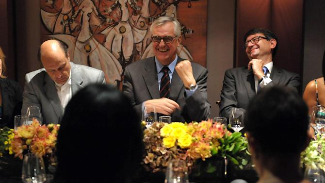 Maurice Hennessy, center, and Axel Cruau, Consul General of France in Los Angeles, right, attend the Hennessy pairing dinner at Crustacean on Monday, Sept. 10, 2012, in Beverly Hills, Calif. (Photo by John Shearer/Invision for Hennessy/AP Images)