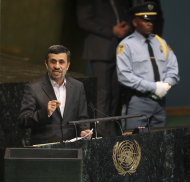 Iranian President Mahmoud Ahmadinejad speaks at a high level meeting at United Nations headquarters Monday, Sept. 24, 2012. Ahmadinejad has dismissed threats of military action against Iran's nuclear program, asserting that its enrichment project is for peaceful purposes and disputing that the country is worried about Israel. (AP Photo/Seth Wenig)