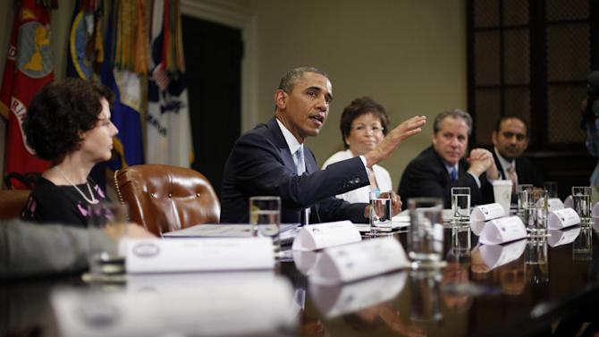 President Barack Obama speaks during his meeting in the Roosevelt Room of the White House in Washington, Monday, June 24, 2013, with CEOs, business owners and entrepreneurs to discuss immigration reform. From left are, Cecilia Muñoz, direcor of the White House Domestic Policy Council, the president, senior White House adviser Valerie Jarrett, National Economic Council Director Gene Sperling, and Dilawar Syed, CEO Yonja Media Group. Obama hosted the meeting to discuss the importance of commonsense immigration reform including the Congressional Budget Office analysis that concludes immigration reform would promote economic growth and reduce the deficit. (AP Photo/Pablo Martinez Monsivais)