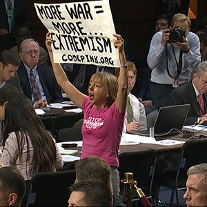 Raw: Anti-war Protesters Disrupt Senate Hearing