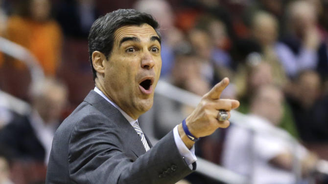 Villanova head coach Jay Wright reacts to a call during the first half of an NCAA college basketball game against Syracuse, Saturday, Jan. 26, 2013, in Philadelphia. (AP Photo/Matt Slocum)
