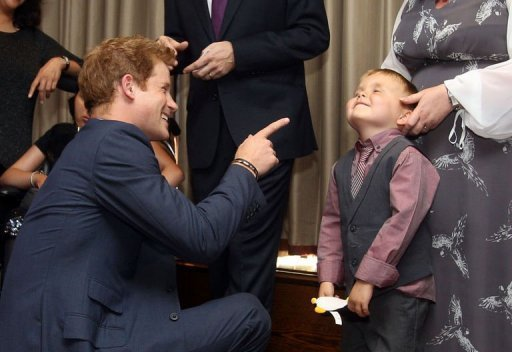 "<p>Prince Harry (L) talks with six-year-old Alex Logan at the WellChild awards ceremony in London on September 3, 2012. Alex Logan was asked by ITV News before the ceremony what he would say to the royal and replied: ""I'm glad you've got your clothes on Prince Harry"".</p>"