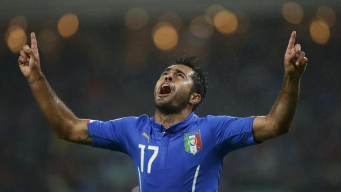 Italy's Eder celebrates his goal during their Euro 2016 group H qualifying soccer match against Azerbaijan at Olympic Stadium in Baku