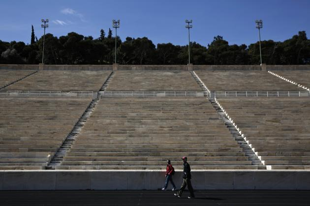 Tourists visit the Panathenean stadium, the stadium which hosted the first modern Olympics in 1896, in Athens.