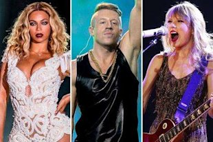 Beyonce, Macklemore, Taylor Swift