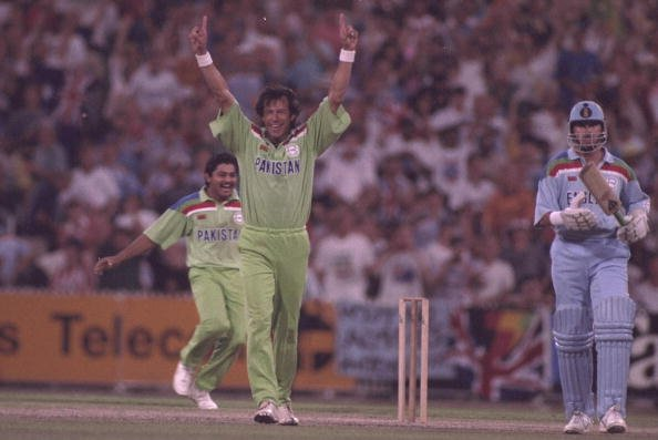 Mar 1992:  Imran Khan of Pakistan takes the wicket of England number 11 Richard Illingworth and Pakistan win the Cricket World Cup for the first time.