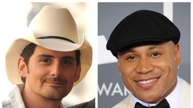 """FILE - This combination of file photos shows Brad Paisley, left, in Hollywood, Calif. on Nov. 1, 2011 and LL Cool J in Los Angeles on Feb. 10, 2013. Southern white men don't usually drive racial dialogue. For as long as race has riven America, they have been depicted more often as the problem than the solution. So the country music star must have been unsurprised at the days of widespread criticism of his new song """"Accidental Racist,"""" which details the challenges facing a """"white man from the southland"""" and then features LL Cool J rapping a black perspective. (Photos by Jordan Strauss/Invision/AP, File)"""