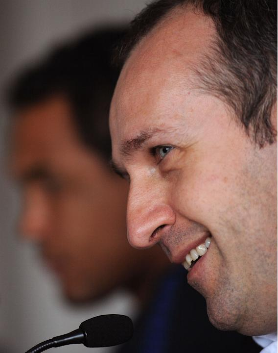France's rugby union national team's head coach Philippe Saint Andre smiles during a press conference in Cardiff on March 16, 2012 on the eve of the rugby union 6 Nations' match between Wales and Fran