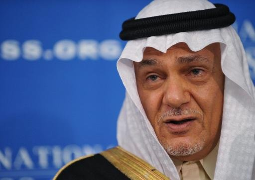 Prince Turki Al Faisal speaks at a press conference at the National Press Club in Washington, DC on November 15, 2011