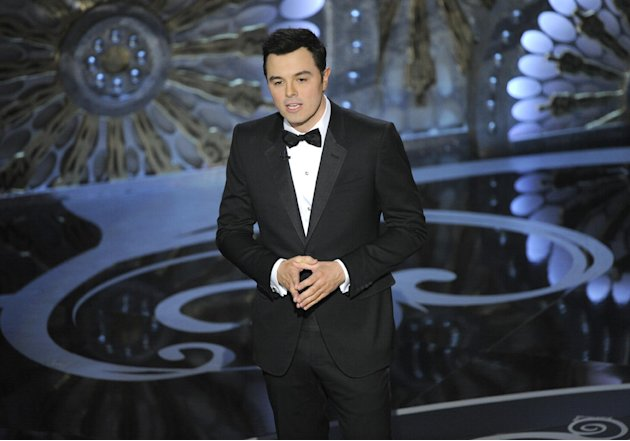 FILE - In this Feb. 24, 2013 file photo, host Seth MacFarlane speaks onstage during the Oscars at the Dolby Theatre in Los Angeles. MacFarlane is too busy to host the Oscars in 2014. He announced the 