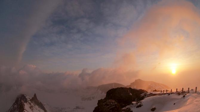 A view of the dawn from the summit of Mt Paektu