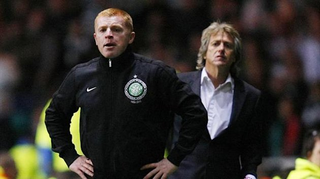 Celtic manager Neil Lennon and Benfica coach Jorge Jesus