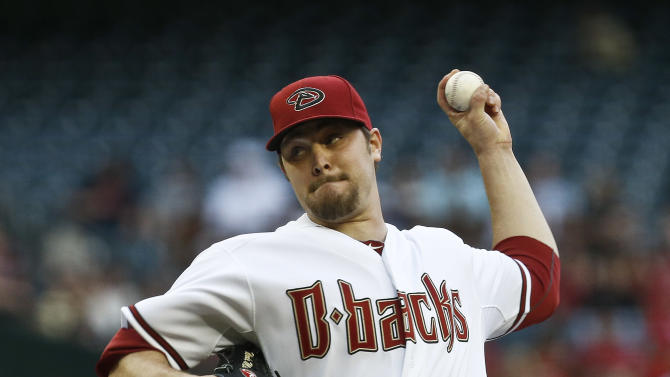 Arizona Diamondbacks' Wade Miley throws against the Atlanta Braves during the first inning of a baseball game, on Monday, May 13, 2013, in Phoenix. (AP Photo/Ross D. Franklin)