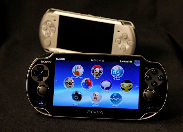 "This Feb. 15, 2012 photo, shows Playstation PSVita, foreground, and its predecessor. In the age of ""Angry Birds"" and ""Words With Friends"" dominating people's on-the-go playtime, Sony is making a push into the world of handheld gaming with a gadget aimed at loyal gamers and fans of the PlayStation. (AP Photo/Reed Saxon)"