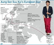 Graphic showing Aung San Suu Kyi's updated European tour itinerary. Myanmar's opposition leader is in Paris for the final leg of her landmark tour
