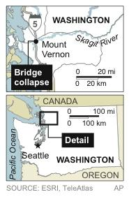 Map locates I-5 bridge collapse over Skagit River in Mount Vernon, Wash.
